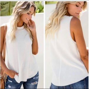 New! White Loose Fit Waffle Tank